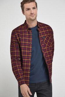 Navy/Ochre Regular Fit Long Sleeve Check Stretch Oxford Shirt