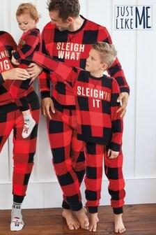 Red/Black Matching Family Kids Christmas Slogan Check Pyjamas (0mths-16yrs)