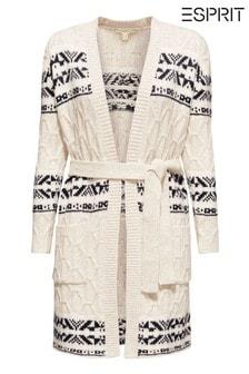 Esprit Cream Jacquard Cardigan With Belt