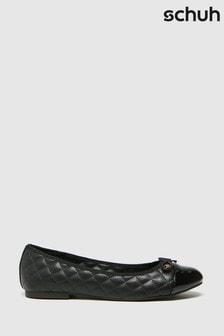 Schuh Black Luna Quilted Ballerina Shoes