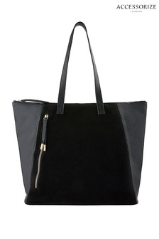 Accessorize Black Stormy Leather And Suede Bag
