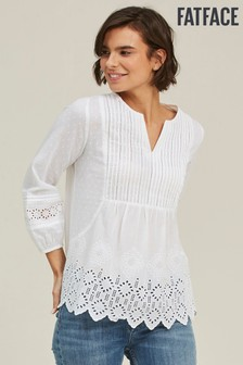 FatFace White Jessica Broderie Blouse
