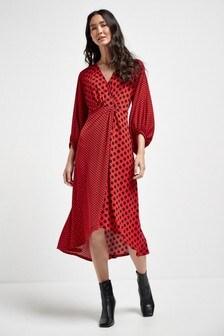 Red Spot Twist Front Midi Dress