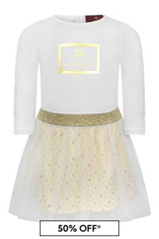 Baby Girls White Jersey & Tulle Logo Dress