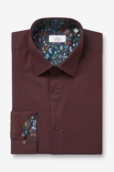 Burgundy Slim Fit Single Cuff Trimmed Detail Shirt