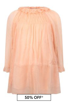 Girls Light Pink Silk Dress