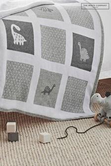 The White Company Grey Dinosaur Baby Blanket