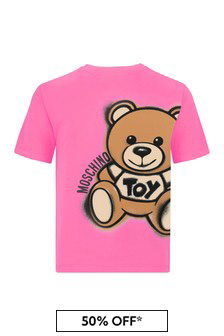 Moschino Kids Girls Pink Cotton T-Shirt
