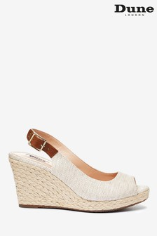 Dune London Kicks 2 Natural Canvas Peep Toe Espadrille Wedge Heel Sandals