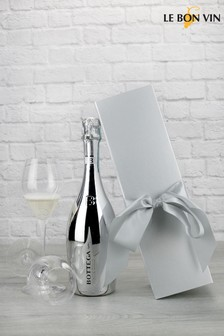 White Gold Sparkling Wine In Silver Bow Gift Set by Le Bon Vin