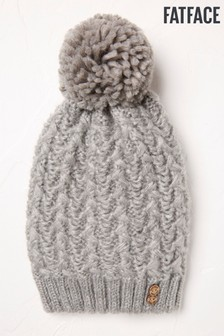 FatFace Grey Pattern Cable Beanie