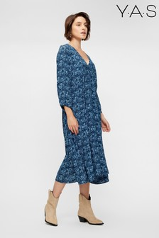 Y.A.S Sustainable Navy Floral Print Piccolina Midi Dress