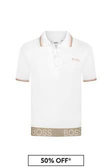 قميص بولو قطن أبيض بناتي منBOSS