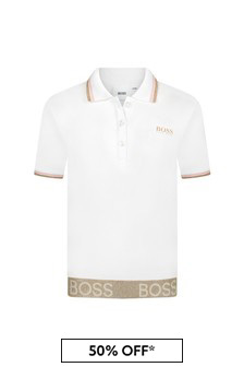 Boss Kidswear Girls White Cotton Poloshirt