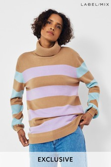 Next/Mix Pastel Stripe Roll Neck Jumper