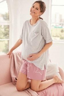 Pink Star Maternity Cotton Blend Pyjamas