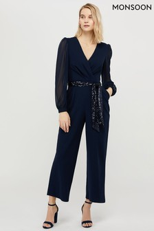 Monsoon Navy Verity Blouson Sleeve Jumpsuit