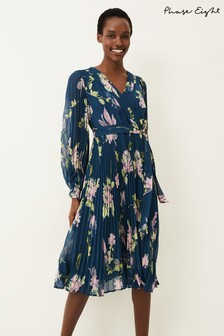 Phase Eight Blue Elsa Floral Pleated Dress