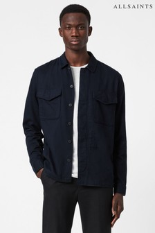 AllSaints Dark Ink Navy Cotton Overshirt
