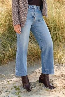 Mid Blue Emma Willis Cropped Wide Leg Jeans