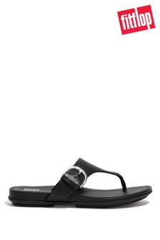 FitFlop Black Graccie Buckle Toe-Post Sandals