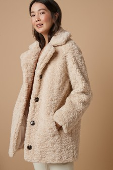Neutral Teddy Borg Coat
