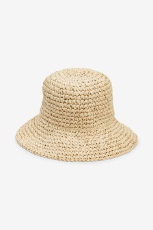 Neutral Bucket Straw Hat