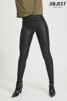 OBJECT Black Coated Slim Fit Stretch Leggings