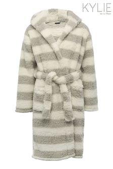 Kylie White Stripe Fluffy Robe