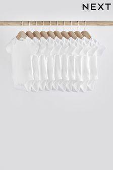 White 10 Pack GOTS Organic Cotton Short Sleeve Bodysuits (0mths-3yrs)
