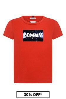 Girls Red Cotton Sequins Flag T-Shirt