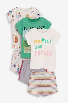 Green/Ecru 3 Pack Crayon 'Protect Our Future' Short Cotton Pyjamas (9mths-12yrs)
