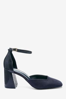 Navy Square Toe Flared Heel Two Part Shoes