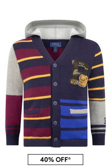 Boys Multi-Coloured Cotton Hooded Cardigan