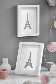 Set of 2 White Gallery Photo Frames