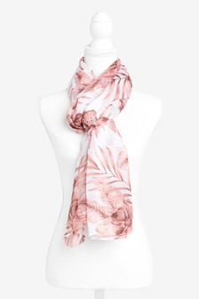 Pink Floral Pattern Scarf