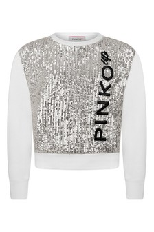 Girls Ivory/Silver Cotton Sequin Sweater