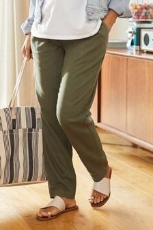 Khaki Maternity Linen Blend Taper Trousers