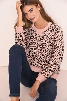 Pink/Animal Slim Fit Sweatshirt