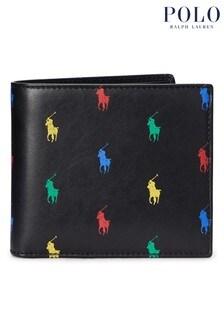 Polo Ralph Lauren® Black Multi Logo Leather Billfold Wallet