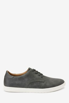 Grey Faux Suede Perforated Derby Shoes