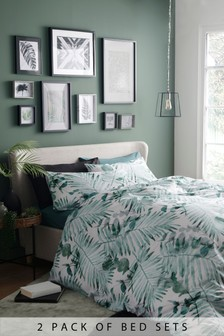 2 Pack Tropical Palm Duvet Cover And Pillowcase Set