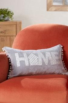 Home Soft Velour Pom Edge Cushion