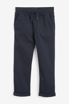 Navy Regular Fit Rib Waist Pull-On Trousers (3-16yrs)