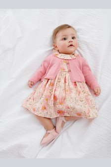 Pink Prom Dress And Cardigan Set (0mths-2yrs)