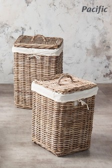 Set of 2 Square Lined Laundry Storage Baskets by Pacific