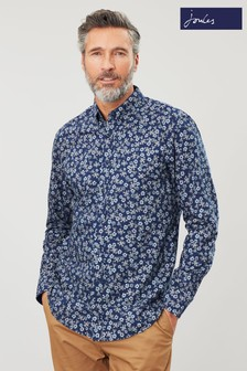 Joules Blue Invitation Classic Navy Ditsy Printed Long Sleeve Shirt