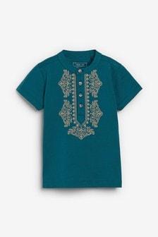 Teal Embellished Collar T-Shirt (3mths-7yrs)
