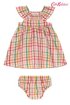 Cath Kidston Cream Strawberry Gingham Baby Darcy Dress