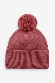 Pink Knitted Pom Hat